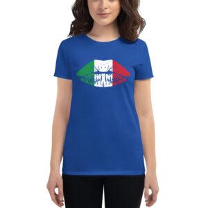 Female Lips Italy Flag Women's Short Sleeve T-Shirt